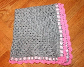 Grey and Pink Granny Square Crochet Baby Blanket
