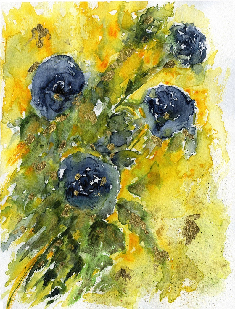 watercolor flowers original painting original art original image 0