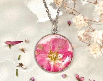 Pink and gold necklace, Real flower necklace Valentines gift for her, Protection necklace, Pink delphinium pendant, Pressed flower jewellery