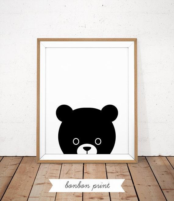 Guardería oso imprimir bebé oso cartel vivero de blanco y