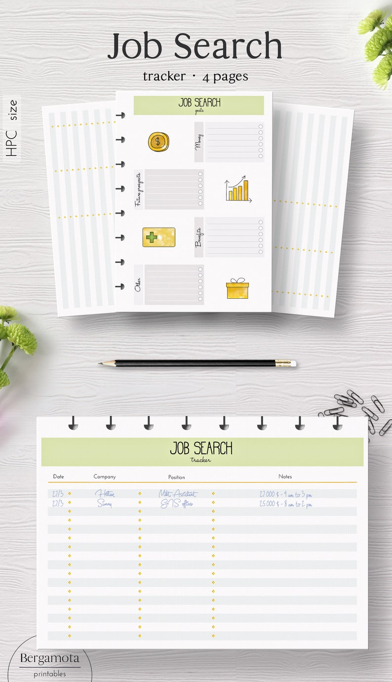 picture about Printable Job Search Log identified as Activity Glance tracker · 4 printable planner internet pages · Delighted Planner Clic measurement · Pword keeper · Undertaking software package log · Conclusion producing · Hard work