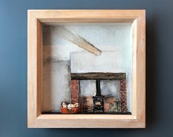 In a warm place - Miniature 3D beagle artwork