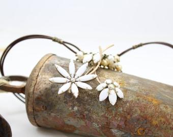 Vintage Milk Glass Floral Brooch Necklace