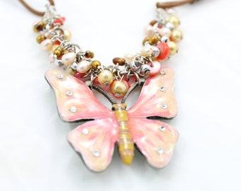 Vintage Pink and Caramel Enameled Brooch Necklace