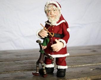 Marionnette père Noël vieux monde, pâte polymère,