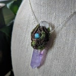 Amethyst Labradorite Mossy Pendant • Polymer Clay Magic Hippie Fairy Forest Elf Polymer Clay Necklace (#088)