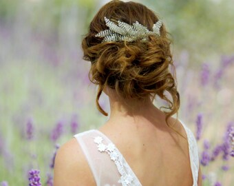 Silver leaf hair comb, Wedding Hair piece, wedding accessory silver leaves, bridal hair piece, wedding comb, floral comb, wedding head piece