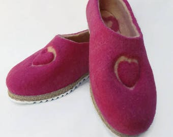 Love Rose Slippers Woman Slippers Pink Slippers Wool Slipper Felted Slipper Warm Slippers Bright Slippers Eco Slippers Winter Home Shoes