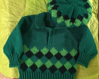 Hand Knit Green Baby Sweater Set Includes Matching Hat (2 Piece Set): Ships Immediately!