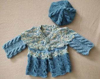 Hand Knit Irish Fisherman Sweater Set Includes Sweater and Matching Hat (2 Piece Set): Ships Immediately!