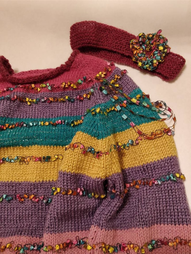 Hand Knit Unique Pullover Toddler Sweater Set Includes Matching Headband Ships Immediately! 2 Piece Set