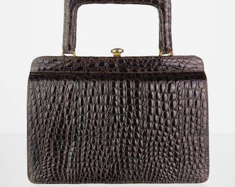 Genuine leather vintage handbag with Kroko embossing