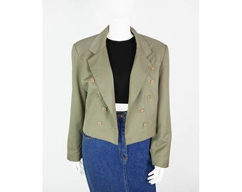 Vintage short jacket in beige with classic lapel