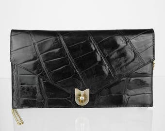 Vintage Leather Clutch Black