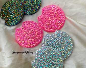 Car Coaster Set w Bling Rhinestones | YOU Pick Size for Perfect Fit | SHIPS FREE over 35!