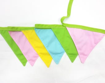 Cotton wall banner Pink Yellow Turquoise Green  Wall decor Nursery baby bunting Fabric garland Wedding garland/Wall art/Wall hanging/Banners