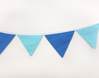 Cotton wall banner Navy Blue Stripes Turquoise Wall decor Nursery baby bunting Fabric garland Wedding garland Wall art Wall hanging Banners
