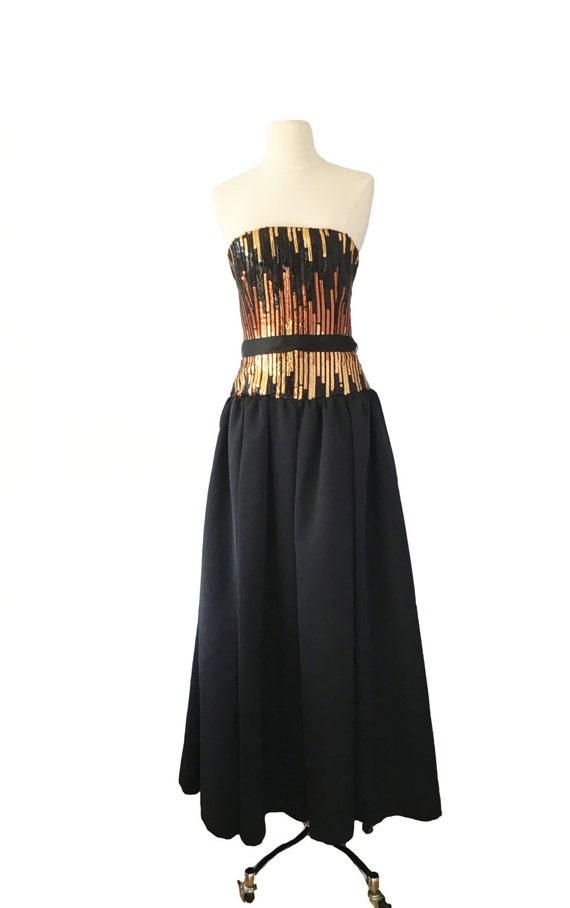 Vintage Gown - Party Gown - Bronze, Gold, Sparkle