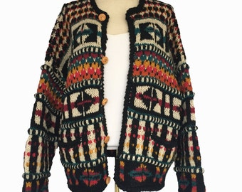 1990s Wool Cardigan by Express, Chunky Handknit Colorful Weekend Sweater