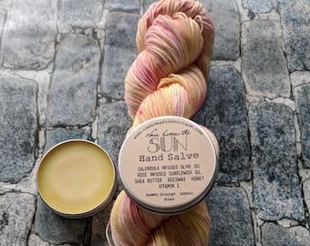 Here Comes the Sun Kit - Yarn, hand dyed, sock yarn, kit, pink yarn, yellow yarn, MCN, OOAK, hand salve,