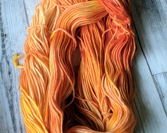 Yarn, DK Yarn, Hand Dyed Yarn, Yellow Yarn, Orange Yarn, Rust,Superwash Merino Wool - Harvest