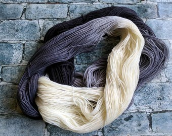 Yarn, Hand dyed yarn, White, Black Yarn, Grey Yarn,  Superwash Merino/Nylon,Sock Yarn, Knitting Yarn, Crochet Yarn - Monochrome