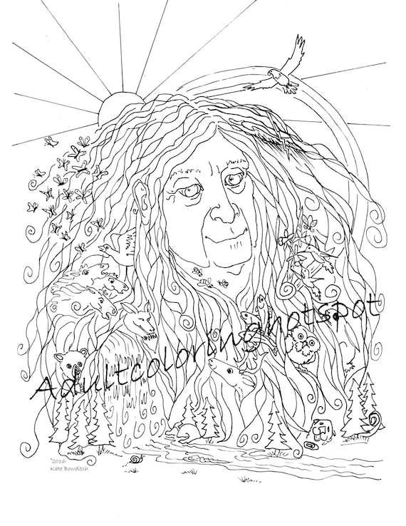 Adultos dibujos para colorear madre naturaleza | Etsy
