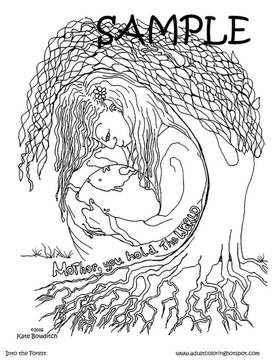 Coloring Pages Mother S Day Mother Nature Mother Earth Etsy