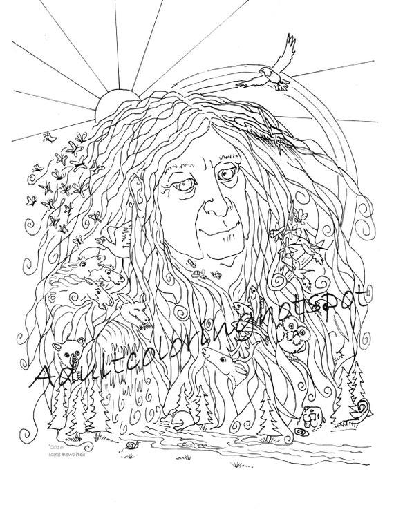 Adultos Dibujos Para Colorear Madre Naturaleza Etsy