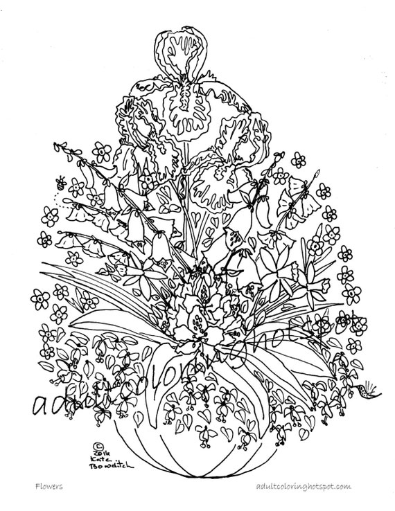 Adult Coloring Pages, Flowers