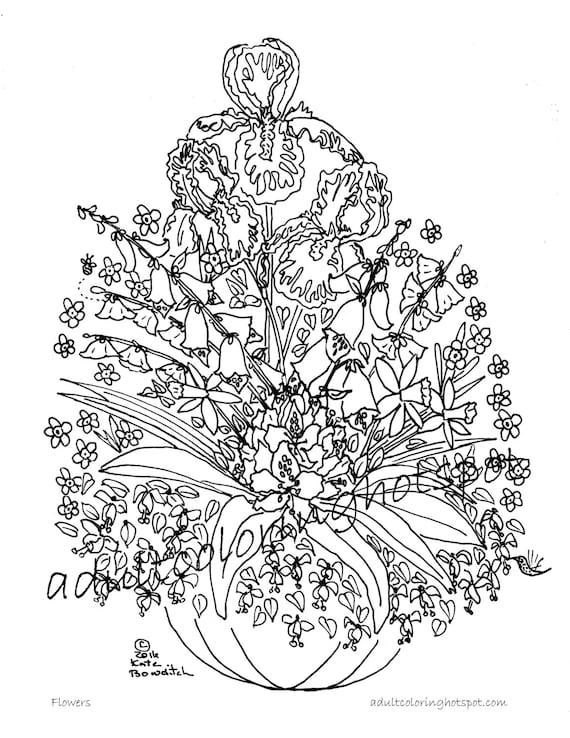 Adultos Dibujos Para Colorear Flores Etsy
