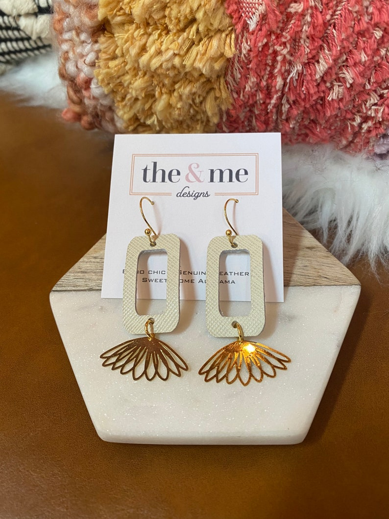 Genuine Leather Dainty Small Gold Copper Ivory Metal Earrings