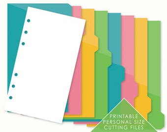 8 TAB DIVIDERs for Personal Size Planner | !! Die Cutting Files !! | Planner Dashboard | Planner Insert | SVG and PDF File