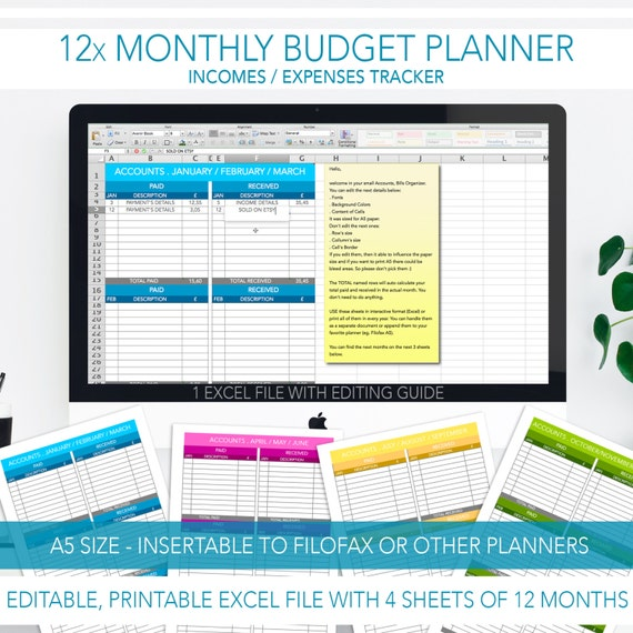 Monthly Bill Tracker Editable Budget Planner Printable Planner A5 Size 12 Months Excel Pdf
