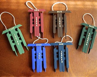 Personalized Popsicle Stick Sled Christmas Tree Ornament