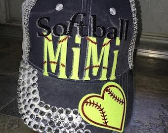 Blinged softball MIMI hat