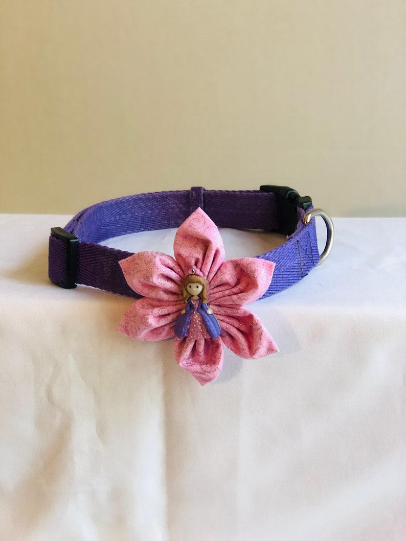 Pink Glitter Princess Themed Removable Flower Accessory for Dog Collar or Harness