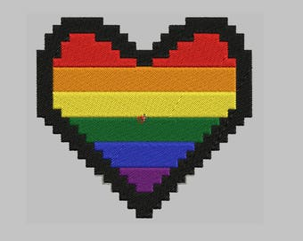 Gay Pride Heart Embroidered Patch Biker Tag