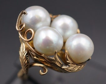 Vintage 14K Yellow Gold Gray Baroque Pearl Cluster Nest Ring Size 7.25 8mm RG1205