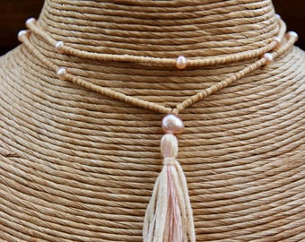 Tulsi wood with apricot pearl mala - yoga jewellery, Mala Beads Handmade, Yoga Jewellery Prayer Beads, Tassel Necklace, yoga jewelry
