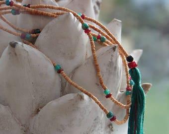 Mala Beads Handmade Tulsi wood with apricot pearl mala Tassel Necklace Yoga Jewellery Prayer Beads spiritual jewellery