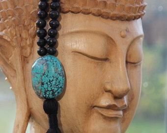 Friendship Turquoise Japa Mala Bead Necklace Guru Bead with tassel - 108 Beads, Yoga Jewelry, mala bead, Yoga Jewellery, meditation