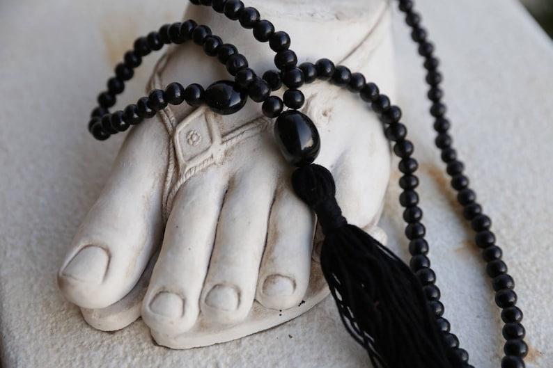 Indian black wood and agate guru beads Tassel Necklace Mala Bead Yoga Jewellery mala bead