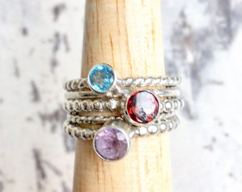 Custom sized Gemstone stacking Ring, stackable sterling silver ring, chakra jewelry, crown chakra, yoga jewelry, birthstone stackable ring,