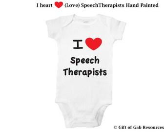 I heart Speech Therapists hand painted onesie SLP, iheart, Therapist, OT, PT,  heart, teachers, nurses, doctors, special education
