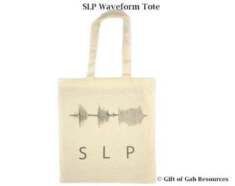 SLP Waveform Tote, Speech Language, Speech Gifts, Eco Tote, SLP Gifts, Teacher Tote, Shopping Bag, Education Tote, Teacher Gifts