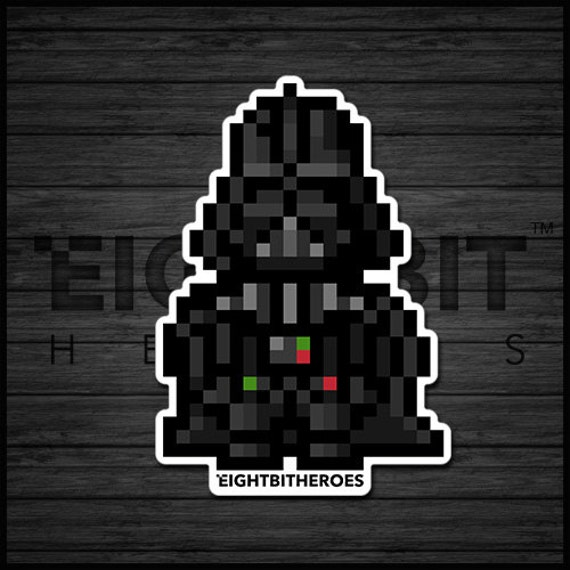 8bit Darth Vader 8 Bit Retro Prints Decals Pixel Art Illustration Art 8 Bit Stickers Accessories Star Wars