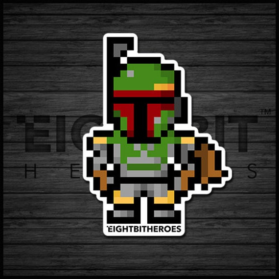 8bit Boba Fett Star Wars Sticker 8 Bit Retro Prints Decals 8 Bit Stickers Pixel Art Illustration Art Accessories