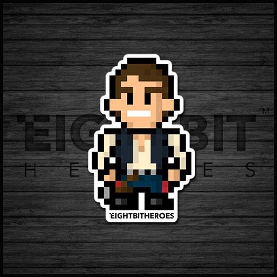 8bit Han Solo 8 Bit Retro Prints Decals Pixel Art Illustration Art 8 Bit Stickers Accessories Star Wars