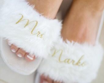 f214e3aa640a Custom Bridal Flip Flops - Fuzzy Slides